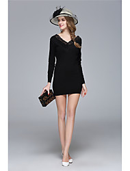 ZRANFANG  Going out Party/Cocktail Sexy Cute Bodycon DressSolid V Neck Mini Long Sleeve Polyester Red Black Gray Spring Summer Mid Rise Inelastic