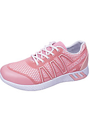 Women's Athletic Shoes Spring Summer Fall Comfort PU Office & Career Dress Party & Evening Flat Heel Lace-up White Black Pink Walking