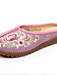 Damen-Flache Schuhe-Outddor Lässig-Leinen-Flacher Absatz-Komfort-Blau Rosa Grau Beige