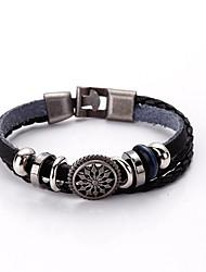 Men's Bracelet Leather Bracelet Alloy Leather Fashion Vintage Party Anniversary Gift Jewelry Gift Black1pc