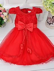 Girl's Jacquard Dress,Cotton Polyester Summer Short Sleeve