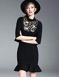 Damen einfarbig Einfach Lässig/Alltäglich Arbeit T-Shirt-Ärmel Rock Anzüge,Ständer Riemengurte Sommer ½ Ärmellänge Pailletten Polyester