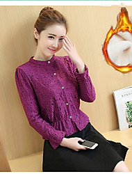 2016 Winter new Women Korean Fan temperament hollow lace blouse small shirt bottoming shirt long-sleeved lace shirt