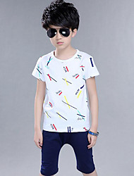 Casual/Daily Print Sets,Cotton Summer Short Sleeve Clothing Set