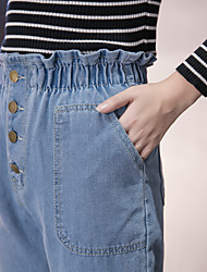 2017 spring and summer flouncing elastic waist jeans trousers female harem pants feet pants BF student Sign