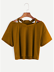 Women's Going out Cute Spring Summer T-shirt,Solid Round Neck Short Sleeve Cotton