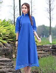 Feminino Reto Bainha Rendas Vestido, Para Noite Casual Simples Moda de Rua Sólido Colarinho Chinês Acima do Joelho Meia MangaAzul