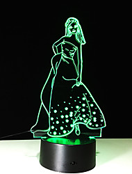 1pc tactile de 7 couleurs fille lampe led couleur de la lumière 3d vision stéréo acrylique coloré gradient vision de lumière de nuit de la