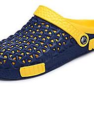Masculino-Sandálias-Outro Buraco Shoes par sapatosAzul Cinza Amêndoa-Couro Ecológico-Casual