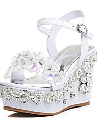 Sandals Spring Summer Club Shoes Cowhide Party & Evening White Almond