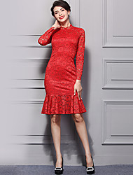 Baoyan Women's Lace/Ruffle Going out Casual/Daily Street chic Bodycon Sheath Lace Dress,Embroidered Ruffle Stand Above Knee Long Sleeve Red White