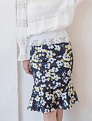 Damen Übergrössen Röcke,Bodycon Blumen DruckLässig/Alltäglich Urlaub Vintage Street Schick Hohe Hüfthöhe Über dem Knie Reisverschluss