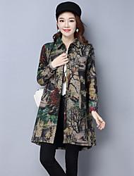 Sign 2017 spring new large size middle-aged fashion long-sleeved cardigan coat was thin windbreaker jacket