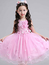 Ball Gown Knee-length Flower Girl Dress - Cotton Lace Tulle Sleeveless Jewel with Bow(s) Flower(s) Pearl Detailing
