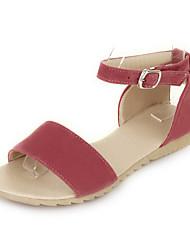Women's Sandals Spring Summer Fall Fleece Outdoor Dress Casual Flat Heel Buckle Black Orange Red Green