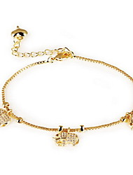 Bracelet Chain Bracelet Alloy Zircon Animal Shape Fashion Birthday Gift Valentine Christmas Gifts Jewelry Gift Gold White,1pc