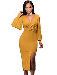 Women's Mustard Deep V Neck Ruched Bodice Slit Sleeves Midi Dress