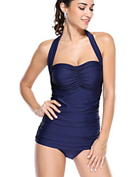 Women's Bandeau One-piece,Solid Polyester Pink Blue Green Yellow