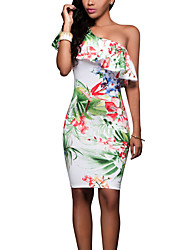 Women's Casual/Daily Club Sexy Vintage Fashion Bodycon DressFloral Slim Backless Layered One Shoulder Above Knee Sleeveless  Summer Mid Rise