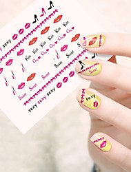 1pcs  Water Transfer Nail Art Stickers Red Lips Lovely Cartoon Mickey Nail Art Design STZ56-60
