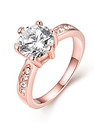 Charms Cubic Zirconia Ring Female Rose Gold Rings With Big Stones Luxury Ring For Women Bijoux Fantaisie Pas Chers AKR023