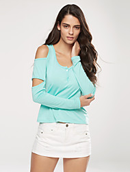 Women's Off The Shoulder|Cut Out Casual/Daily Sexy Spring / Fall T-shirt,Solid U Neck Long Sleeve Red / Green Cotton / Spandex Medium