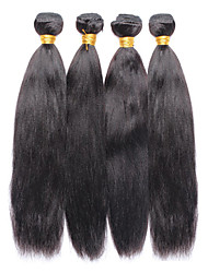 Vinsteen 4 Pieces 400g Yaki Straight Natural color Human Hair Weaves Brazilian Texture Unprocessed Human Hair Extensions Thick Ends Hair Wefts