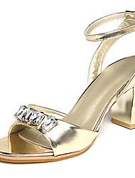 Women's Sandals Spring PU Dress Chunky Heel Block Heel Rhinestone Gold White