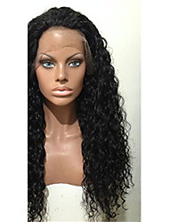 100% Human Virgin Hair Lace Wig Lace Front Long Kinky Curly Lace  Wig-glueless with Baby Hair