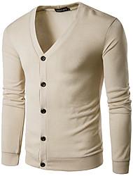 Men's Casual/Daily Regular Cardigan,Solid Shirt Collar Long Sleeves Wool Spring Fall Medium Micro-elastic