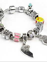 Men's Women's Couple's Chain Bracelet Stainless Steel Alloy Natural Fashion Heart Silver Jewelry 1pc