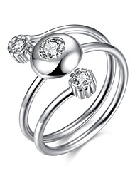 Ringe Hochzeit Party Besondere Anlässe Alltag Normal Schmuck Sterling Silber Zirkon Ring 1 Stück,Verstellbar Silber