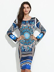 Women's Going out / Party Sexy / Vintage Bodycon DressPrint Round Neck Knee-length Long Sleeve