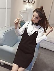 знак в начале весны 2017 года новый с длинными рукавами V-образный вырез упряжи платье рубашки куском приспособленных женщин