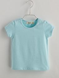 Baby T-Shirt,Lässig/Alltäglich Gestreift-Baumwolle-Sommer-Blau Rosa