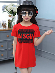 Casual/Daily Holiday Solid Print Tee,Cotton Summer Short Sleeve Long
