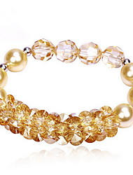 Women's Chain Bracelet Crystal Crystal Alloy Natural Fashion Round Gold White Jewelry 1pc