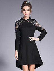Women's Plus Size Going out Party/Cocktail Sexy Vintage Sophisticated A Line Sheath Asymmetric Dress Patchwork Bead Embroidered Lace Mesh