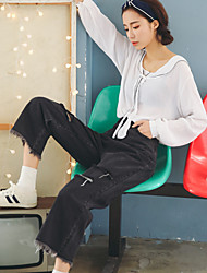 2017 Spring and Autumn new influx of Korean women pants trousers Slim jeans female high waist wide leg pants wild