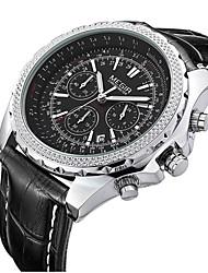MEGIR Men's Dress Watch Wrist watch Quartz Calendar Leather Band Vintage Black Brown