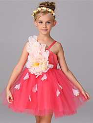 Princess Knee-length Flower Girl Dress - Chiffon Cotton Straps with Appliques