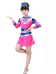Cheerleader Costumes Outfits Children's Performance Spandex Crystals/Rhinestones 2 Pieces Long Sleeve Natural Top Skirt