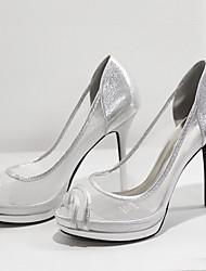 High Heels-Kleid-Stoff-Stöckelabsatz-Club-Schuhe-Schwarz Silber Gold
