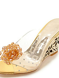 Women's Sandals Summer Club Shoes Comfort Rubber Dress Casual Wedge Heel Applique Silver Gold