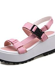 Women's Sandals Summer Comfort Novelty Fabric Customized Materials Dress Casual Wedge Heel Buckle Split Joint Yellow Pink Orange