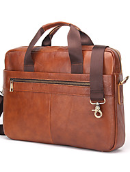 Contacts Genuine Leather 14 Mens Messenger Shoulder Bag Laptop Briefcase Brown Men Cowhide Office & Career Laptop Bag