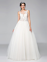 LAN TING BRIDE Ball Gown Wedding Dress - Glamorous & Dramatic See-Through Chapel Train Jewel Tulle with Appliques