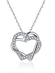 Women's Pendant Necklaces Chain Necklaces AAA Cubic Zirconia Zircon Silver Plated Gold Plated Simulated Diamond Alloy HeartUnique Design