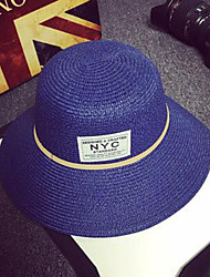 Women Simple Straw Sun Hat Beach Hat Patch Casual Summer