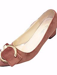 Women's Loafers & Slip-Ons Spring Comfort Fleece Outdoor Chunky Heel Ribbon Tie Black Green Light Pink Walking
